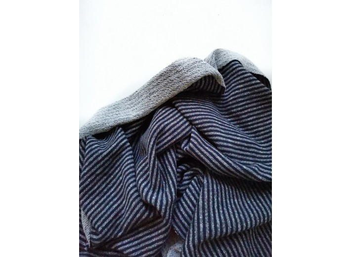 Футер 3х нитка петля Полоска Синий меланж/темно-синий (органик) (335 г/м2)
