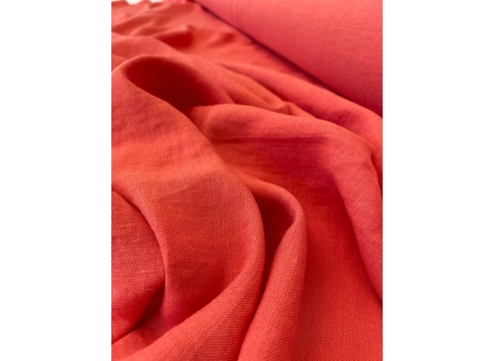 Ткань Лен крэш Коралловый (195 г/м2)