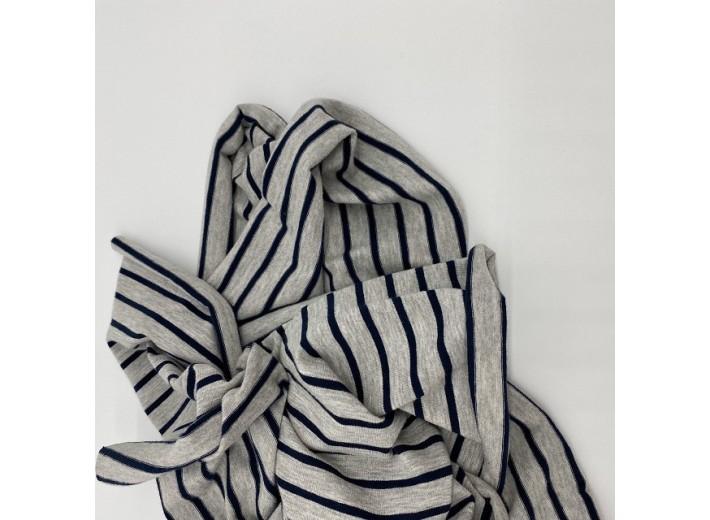 Кулирная гладь Полоска Темно-синяя на сером меланж (180г/м2)
