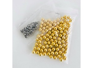 Жемчужина (Бусинка) 6 мм с шипом Золото (50шт/уп)