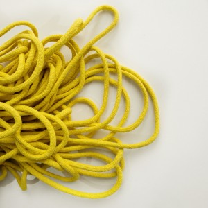 Шнур 6 мм круглый плетеный с наполнителем Желтый 100% х/б