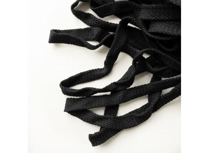 Шнур 15 мм плоский плетеный Черный 100% х/б