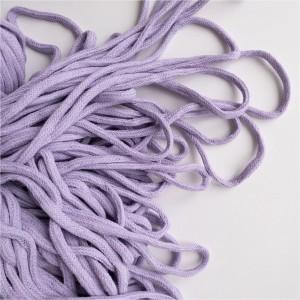 Шнур 6 мм круглый мягкий плетеный с наполнителем Сиреневый 100% х/б