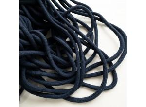 Шнур 6 мм круглый плетеный с наполнителем Темно-синий 100% х/б
