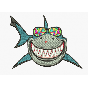"""Вышивка """"Акула с цветными очками"""""""