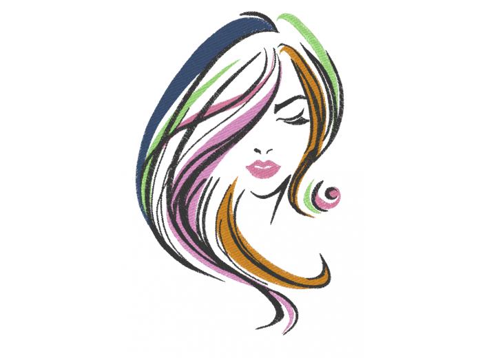 """Вышивка """"Девушка с цветными волосами"""""""