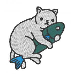 """Вышивка """"Котик с рыбкой"""""""