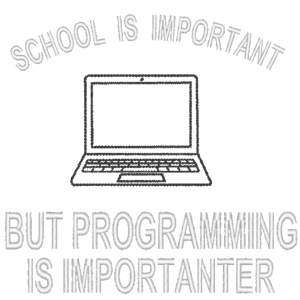 """Вышивка """"School is important but programming is important"""""""